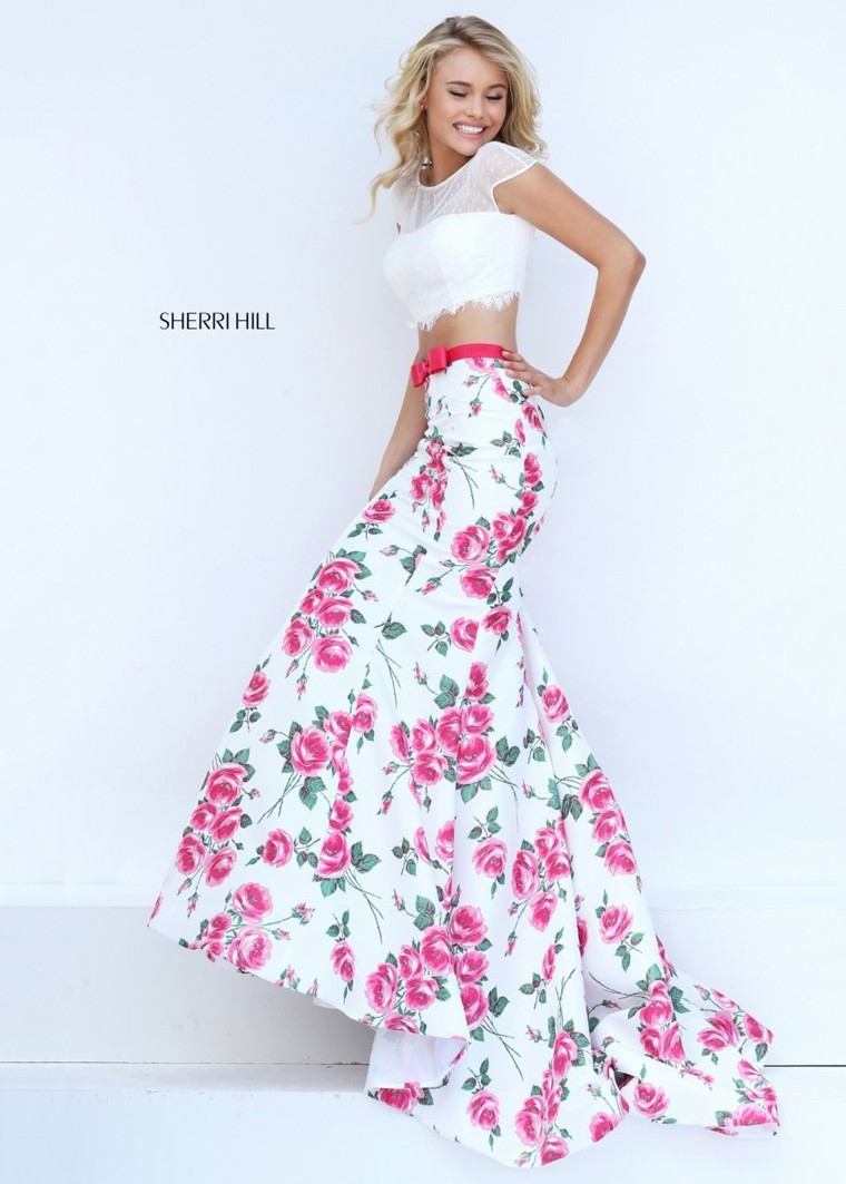 Sherri Hill 50421 Floral Illusion Crop Top Gown For Women [sherri ...