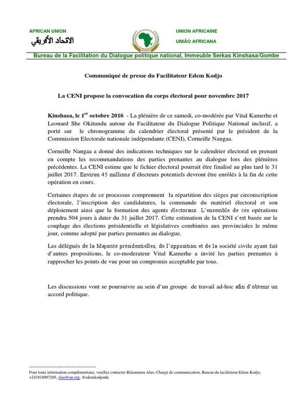 RDC : la CENI propose la convocation du corps électoral pour novembre 2017