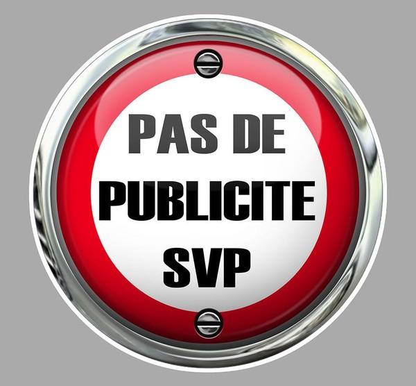 PAS DE PUB PUBLICITE MERCI SVP BOITE A LETTRES 7,5cm AUTOCOLLANT STICKER PC195. | eBay
