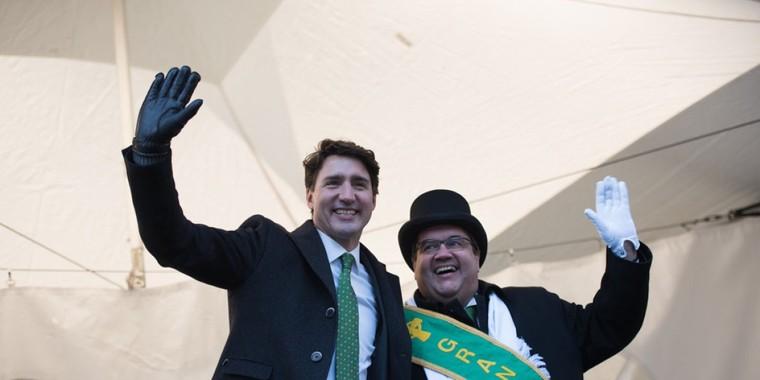Défilé de la Saint-Patrick à Montréal: Trudeau et Coderre présents