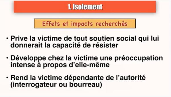 Les 8 critères de tortures psychologiques de la charte Biderman