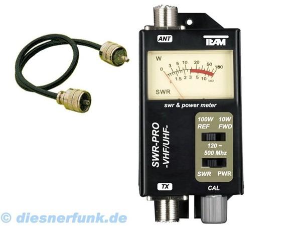 Équipe SWR-PRO UHF VHF 120-500 MHz mètre d'onde 10/100 Watt & PL pont de câble