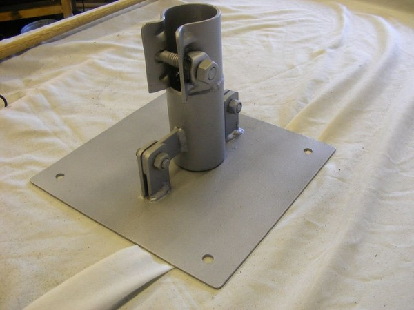 """HEAVY DUTY TILT BASE PLATE FOR GROUND MOUNTING 2"""" POLE, ANTENNA, MAST, VERTICAL"""