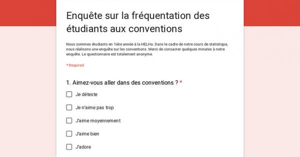 Enquête sur la fréquentation des étudiants aux conventions