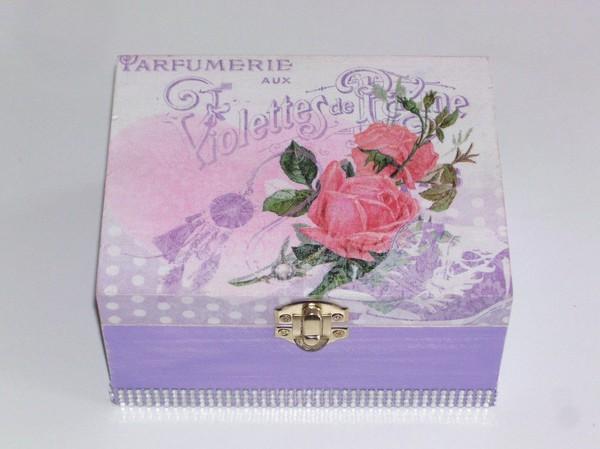 Boîte à bijoux femme mauve rose fleur