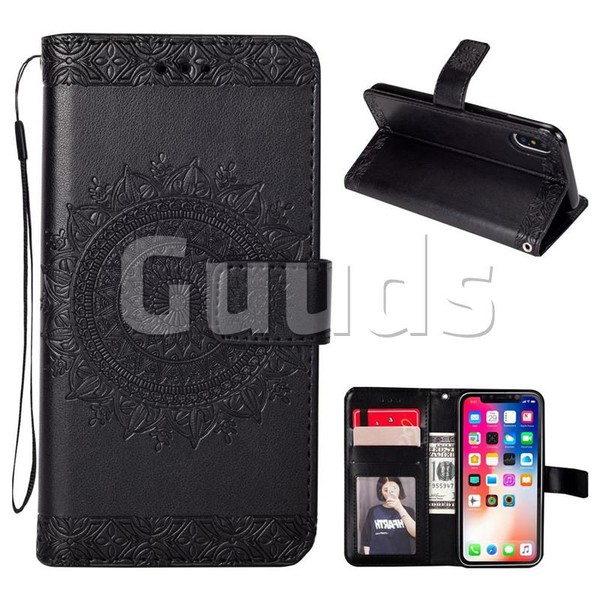 Intricate Embossing Totem Flower Leather Wallet Case for iPhone X(5.8 inch) - Black - Leather Case - Guuds