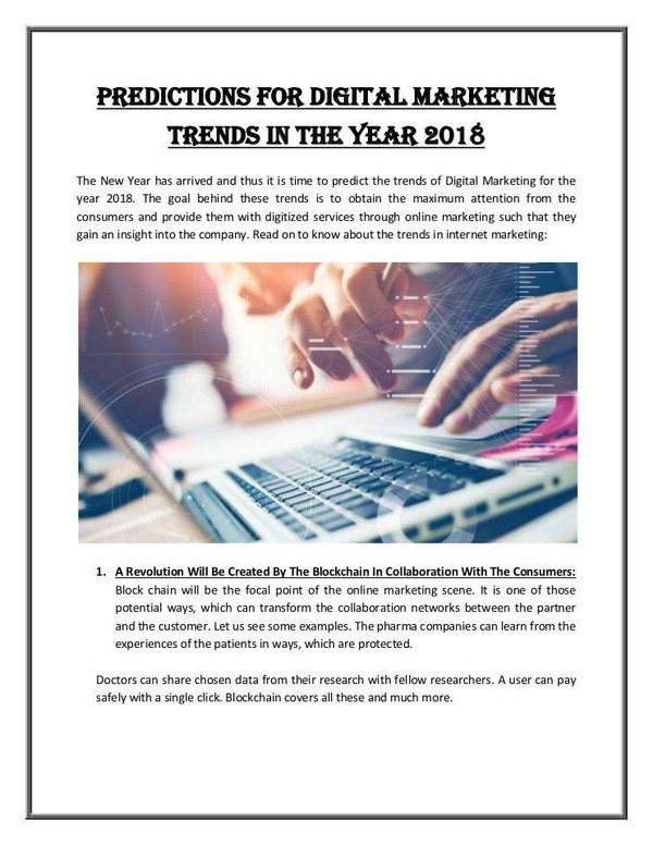 Predictions for Digital Marketing Trends in 2018