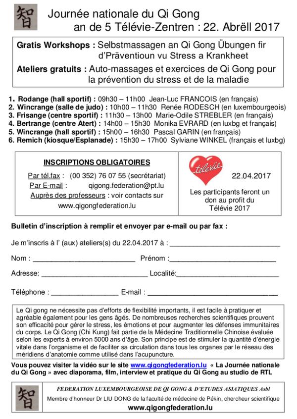 Qi Gong pour le Télévie 2017 au Luxembourg