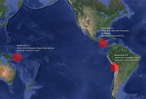 Activité tectonique : Forts séismes au Nicaragua, Chili, Papouasie-Nouvelle-Guinée
