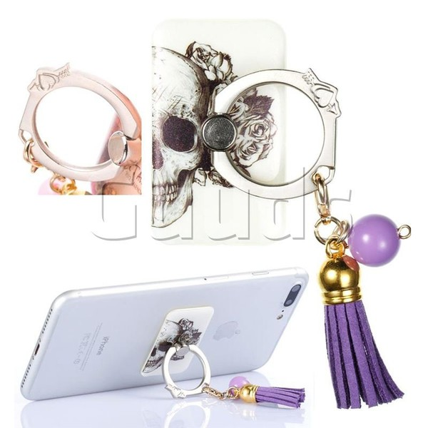 Universal 360 Rotation Stylish Holder Finger Ring Kickstand with Tassel for Mobile Phone Folding - Skull Flower - Finger Kickstand - Guuds