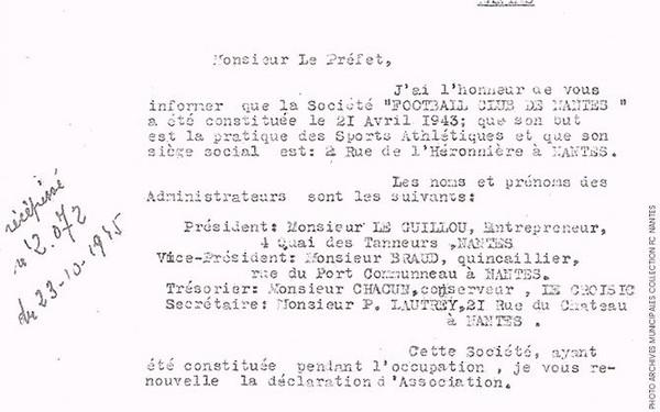 Le FC Nantes est né sous les bombes