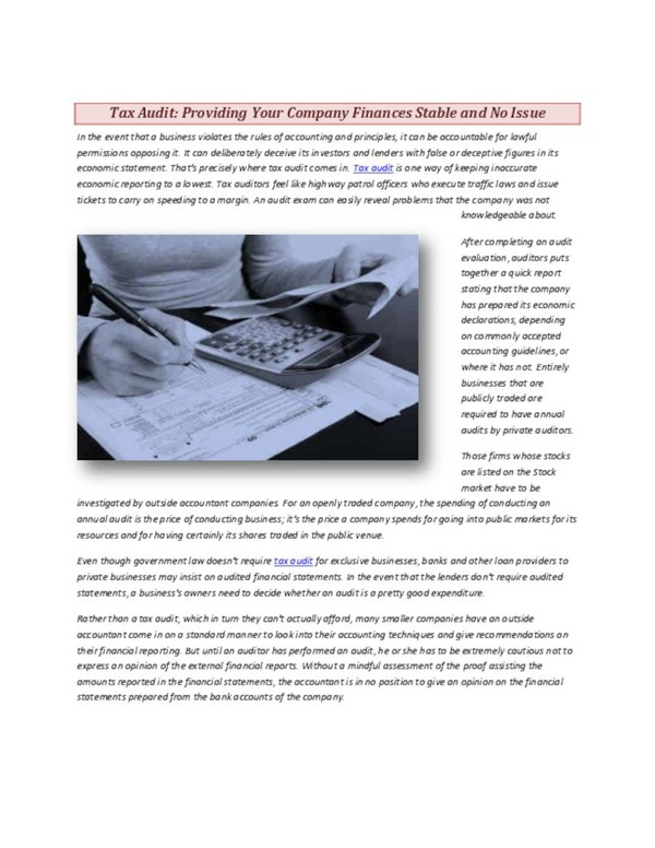 Tax Audit Providing Your Company Finances Stable and No Issue.pdf - PdfSR.com