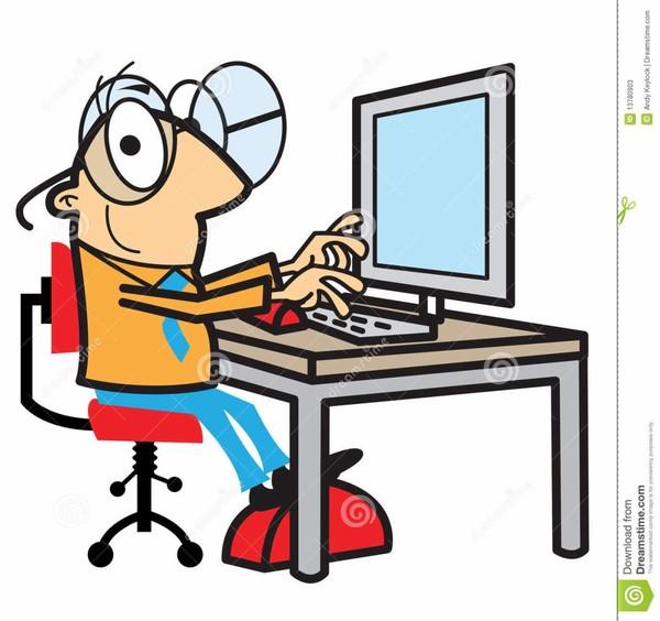 Cartoon man working at computer