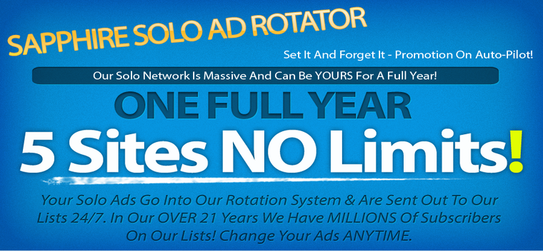 Worldprofit's Sapphire Solo Ad Rotator - Traffic To 5 Websites For ONE Full Year $37