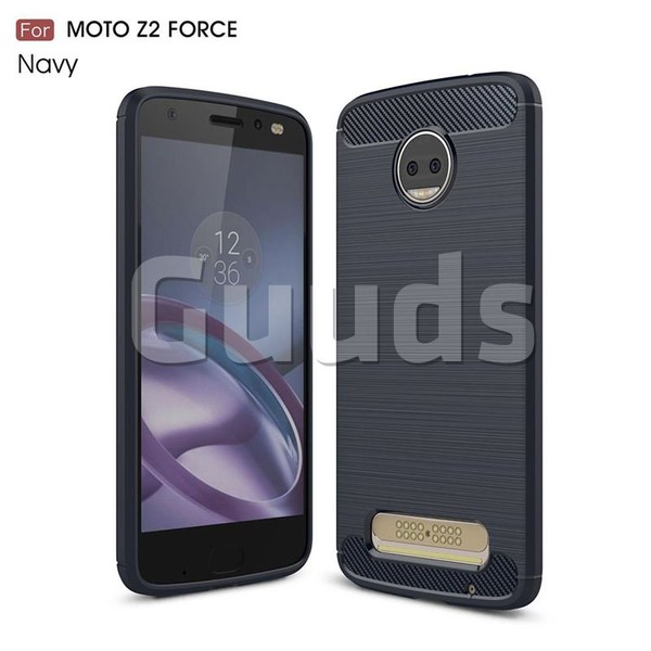 Luxury Carbon Fiber Brushed Wire Drawing Silicone TPU Back Cover for Motorola Moto Z2 Force (Navy) - TPU Case - Guuds