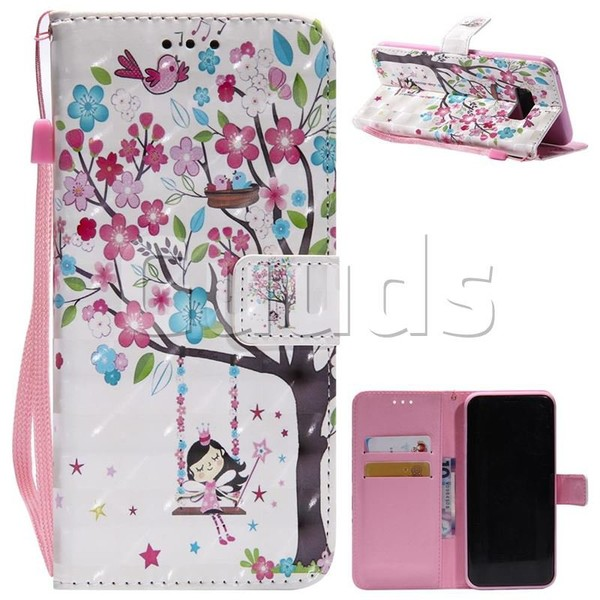 Flower Tree Swing Girl 3D Painted Leather Wallet Case for Samsung Galaxy S8 Plus S8+ - Leather Case - Guuds