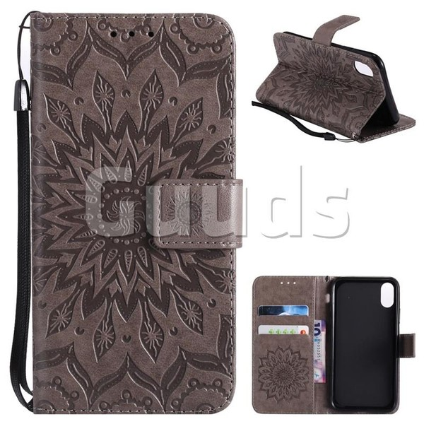 Embossing Sunflower Leather Wallet Case for iPhone 8 - Gray - Leather Case - Guuds