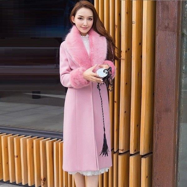 2017 Fashion ladies woolen coat winter faux fox fur collar pea coat Cultivating long wool trench coat overcoat plus size S XXXXL-in Wool & Blends from Women's Clothing & Accessories on Aliexpre...