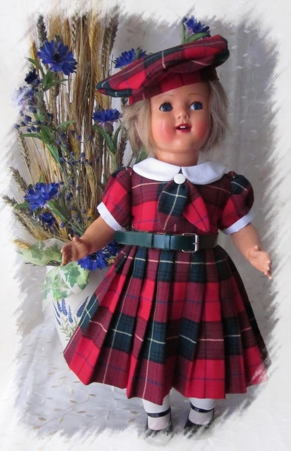Magnifique robe ecossaise + béret pour poupée ancienne Raynal, Celluloid, Bella