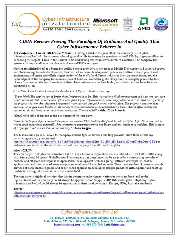 CISIN Reviews Proving The Paradigm Of Brilliance And Quality That Cyber Infrastructure Believes In