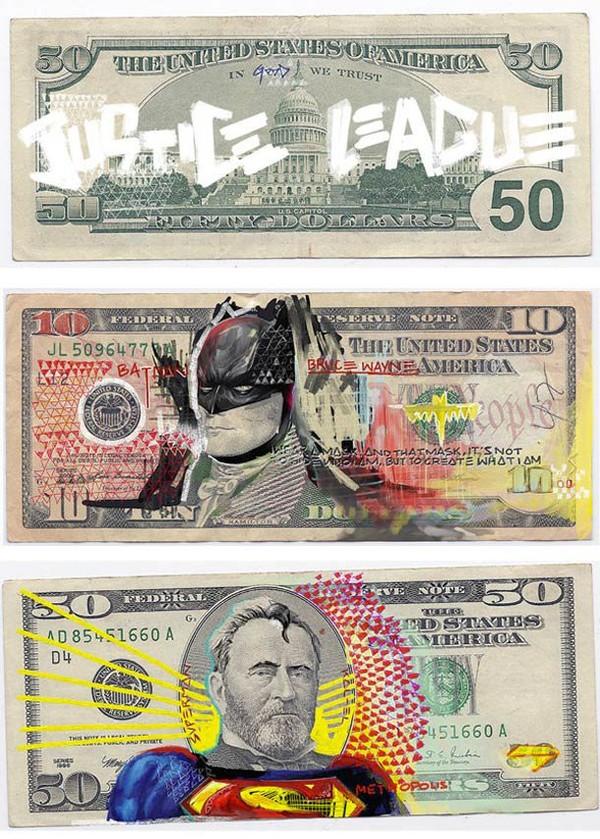 Justice League Of America – Les billets de banque américains revus par Aslan Malik | Ufunk.net