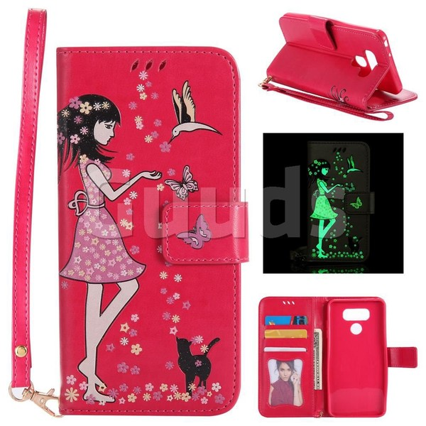 Luminous Flower Girl Cat Leather Wallet Case for LG G6 - Rose - Leather Case - Guuds