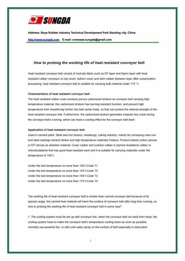 How to prolong the working life of heat resistant conveyor belt