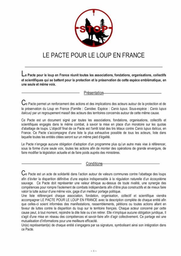 Le Pacte Pour Le Loup en France