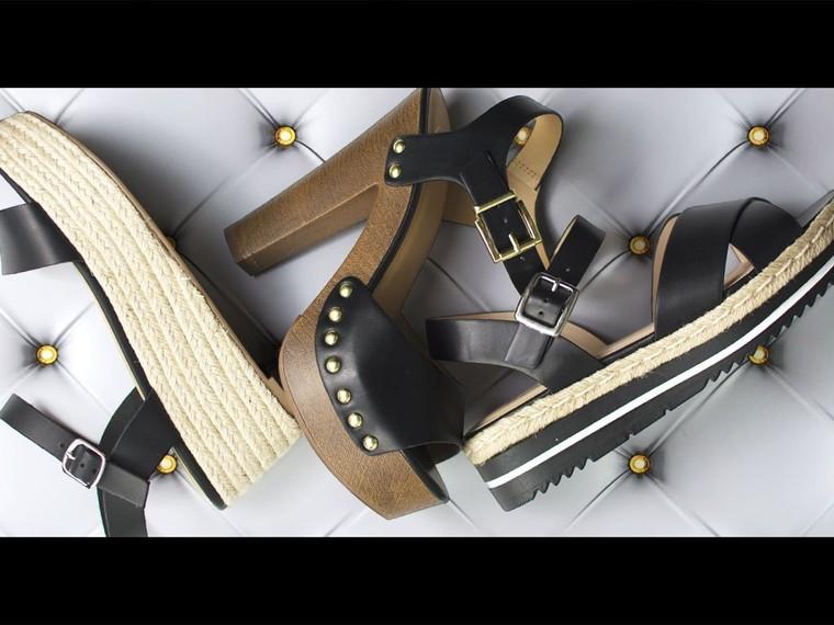 Set Trend W/ Women's Denim Shoe, Chunky Heel, Clear Sandal