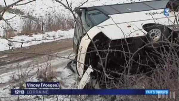 Cinq blessés lors de l'accident d'un bus belge dans les Vosges