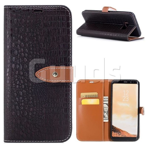 Luxury Retro Crocodile PU Leather Wallet Case for Samsung Galaxy S8 Plus S8+ - Dark Brown - Leather Case - Guuds