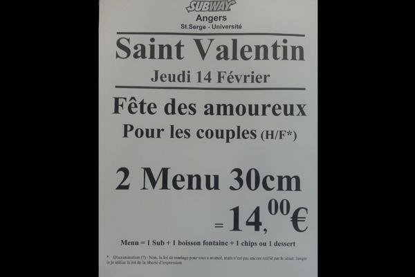 A Angers, un menu homophobe difficile à digérer pour Subway