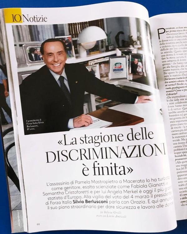 """Silvio Berlusconi on Instagram: """"Intervistato della direttrice di @grazia_it @silvia_grilli ho parlato di #sicurezza e soprattutto di #lavoro, temi importanti per il mondo…"""""""