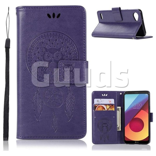 Intricate Embossing Owl Campanula Leather Wallet Case for LG Q6 (LG G6 Mini) - Purple - Leather Case - Guuds