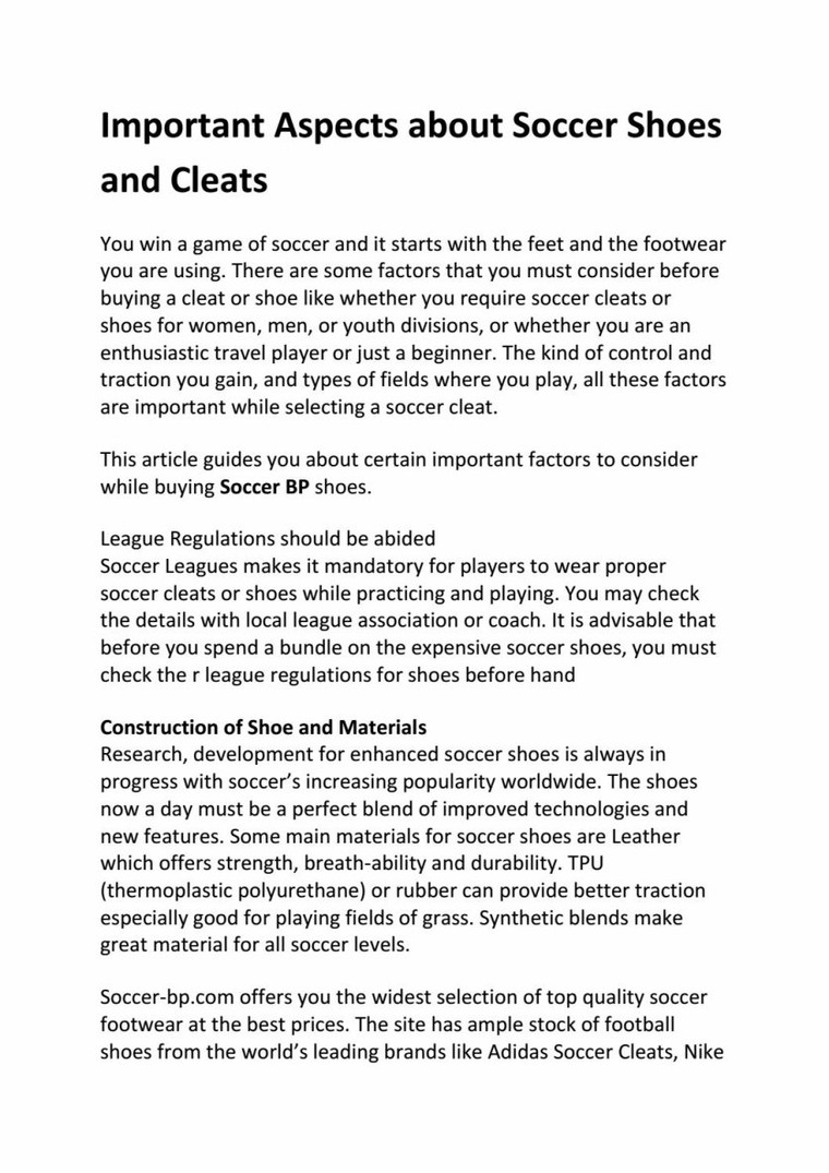 Important aspects about soccer shoes and cleats