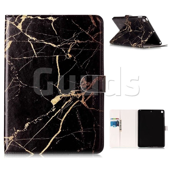 Black Gold Marble Folio Flip Stand PU Leather Wallet Case for iPad Pro 9.7 2017 9.7 inch - Leather Case - Guuds