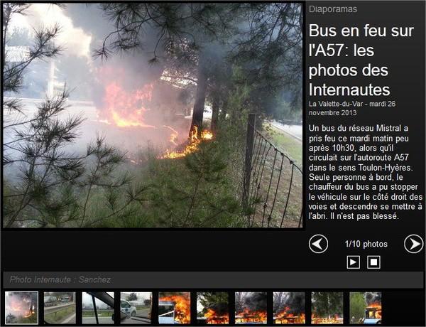 VIDEO. Un bus du réseau Mistral en feu sur l'autoroute A57 à La Valette