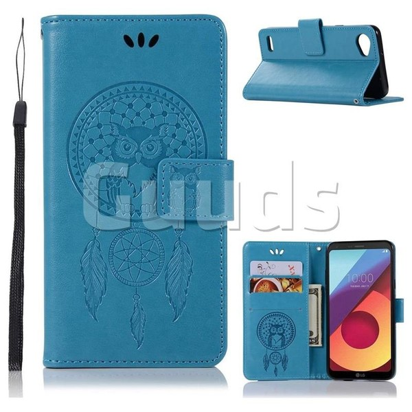 Intricate Embossing Owl Campanula Leather Wallet Case for LG Q6 (LG G6 Mini) - Blue - Leather Case - Guuds