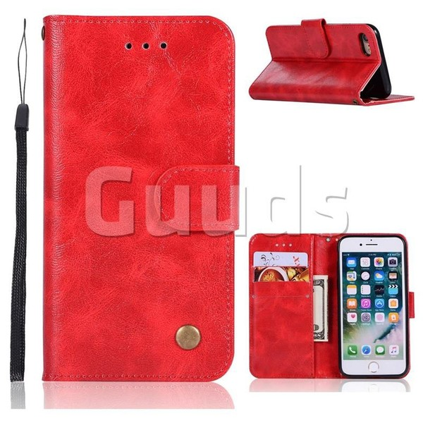 Luxury Retro Leather Wallet Case for iPhone 6s Plus / 6 Plus 6P(5.5 inch) - Red - Leather Case - Guuds