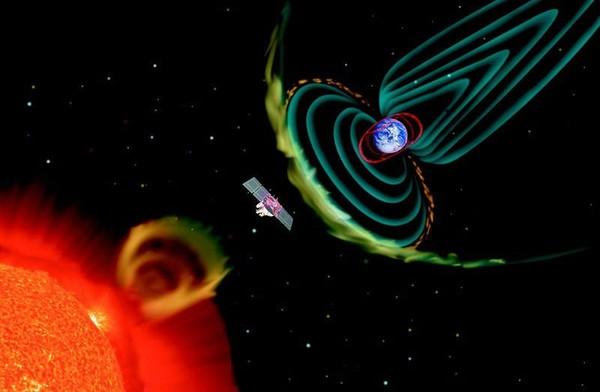 la terre lors d'une éruption solaire