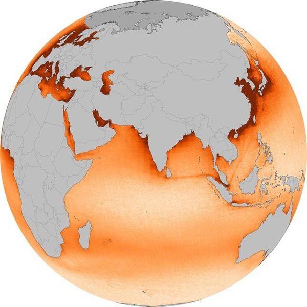 La pollution, générée par le trafic maritime, vue de l'espace