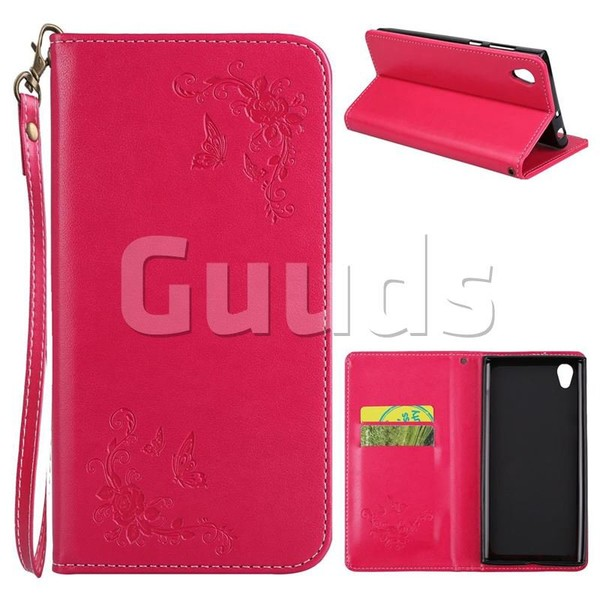 Intricate Embossing Slim Butterfly Rose Leather Holster Case for Sony Xperia L1 / Sony E6 - Rose - Leather Case - Guuds
