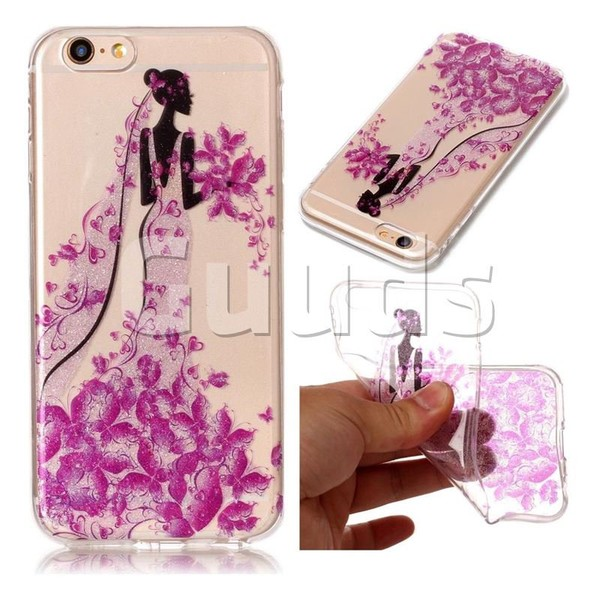 Princess Super Clear Flash Powder Shiny Soft TPU Back Cover for iPhone 6s Plus / 6 Plus 6P(5.5 inch) - TPU Case - Guuds