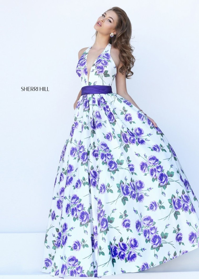 Sherri Hill 50472 Floral Print V-Neck Ball Gown Sale [sherri hill ...
