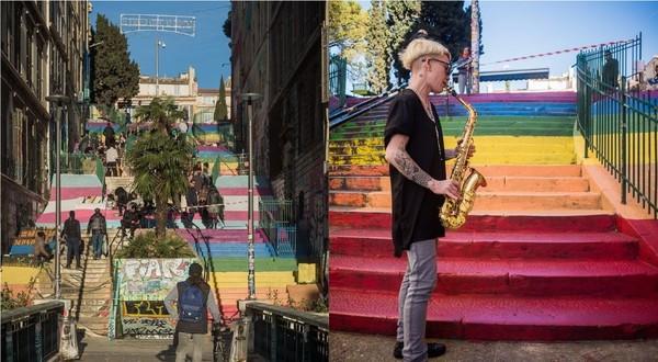 Marseille : une rue repeinte aux couleurs des drapeaux LGBT et trans' - TÊTU