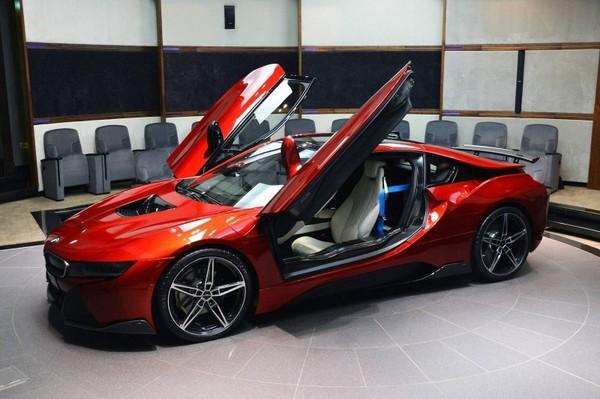 A unique Lava Red BMW i8 for the princess of Abu Dhabi