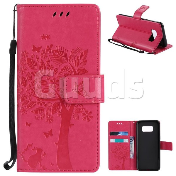 Embossing Butterfly Tree Leather Wallet Case for Samsung Galaxy S8 - Rose - Leather Case - Guuds