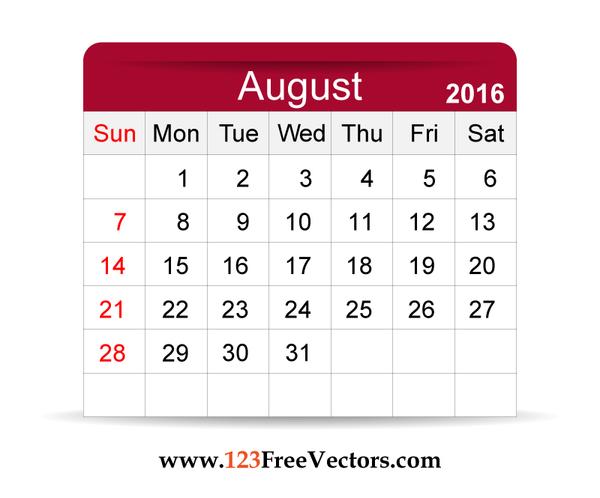 Free Vector 2016 Calendar August | 123Freevectors