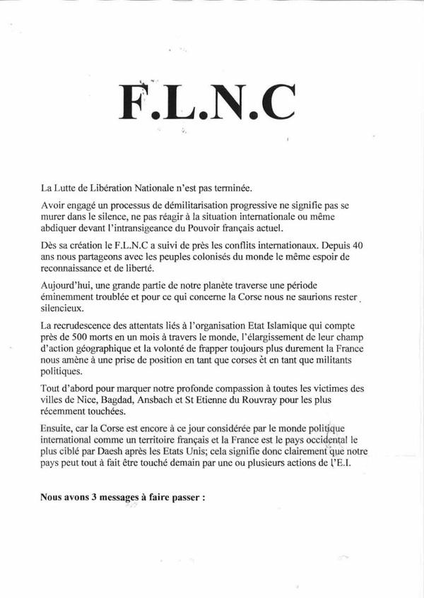 Communiqué de presse FLNC