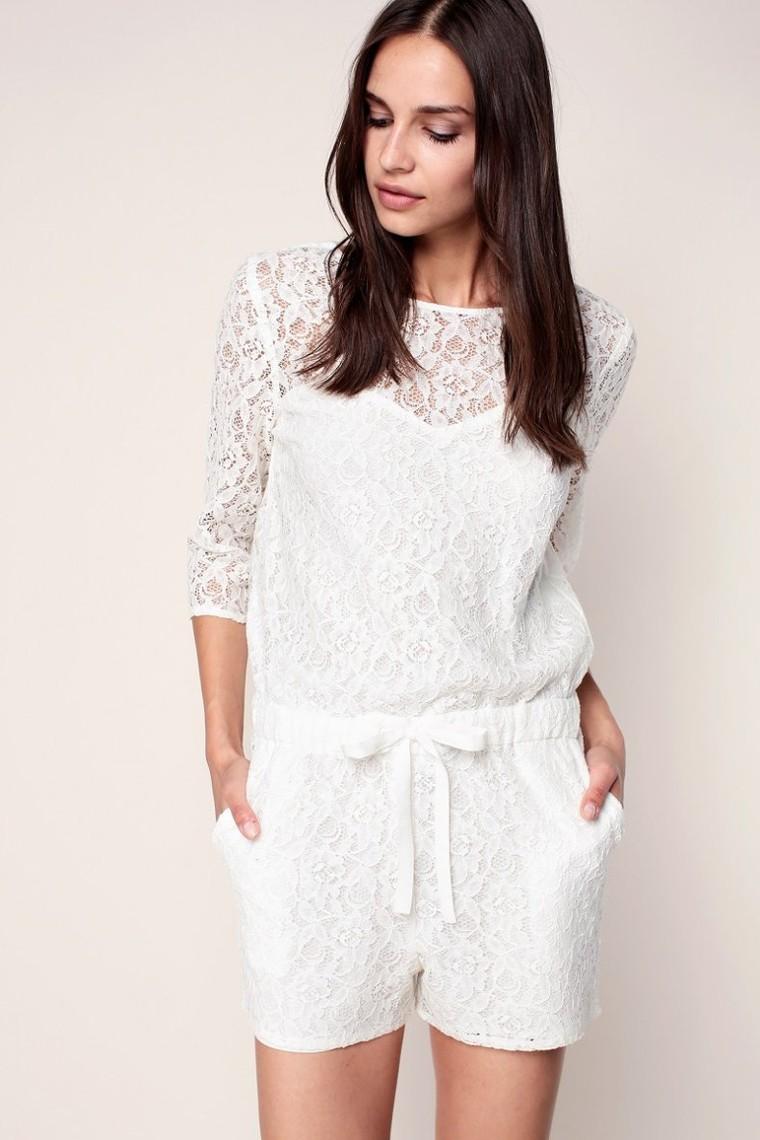 Naf Naf Keo Combi-short blanche en dentelle à taille élastiquée, Combi Short Monshowroom - Ventes-pas-cher.com